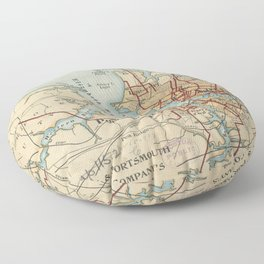 Vintage Map of Norfolk and Portsmouth VA (1919) Floor Pillow