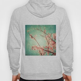 Pink Autumn Leafs on Blue Textured Sky (Vintage Nature Photography) Hoody