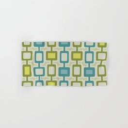 Mid Century Modern Square Columns Turquoise Chartreuse Hand & Bath Towel