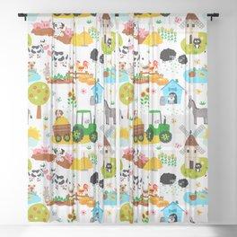 Cute Barnyard Farm Animals Pattern Sheer Curtain