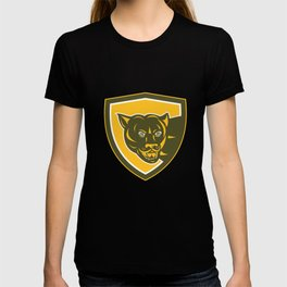 Puma Mountain Lion Head Prowl Shield Retro T-shirt