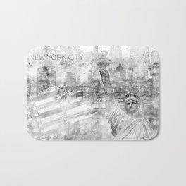 Graphic Art MANHATTAN Collage | silver Bath Mat