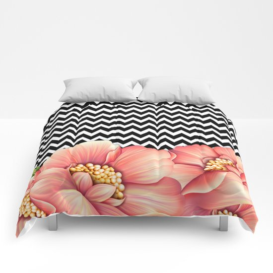 flower power and chevron Comforters