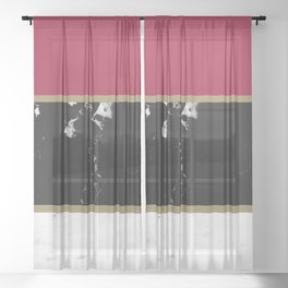 Marble Mix Stripes #2 #black #white #red #gold #decor #art #society6 Sheer Curtain