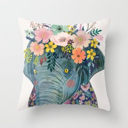 Elephant with flowers on head Throw Pillow