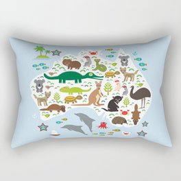 map of Australia. Echidna Platypus Emu Tasmanian devil Cockatoo Wombat crocodile kangaroo dingo Rectangular Pillow