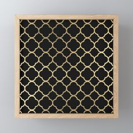 Elegant geometrical black faux gold quatrefoil Framed Mini Art Print