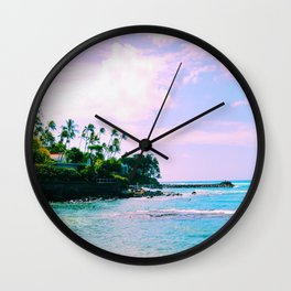 Purple waves Wall Clock