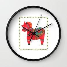 The Red Dala Horse Wall Clock
