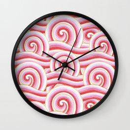 Red Auspicious Waves Wall Clock