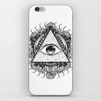 all seeing eye iPhone & iPod Skins featuring All Seeing Eye by E1 illustration