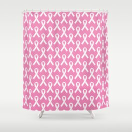 Breast Cancer Awareness Ribbons - Pink & White Shower Curtain