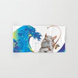 Hokusai Rainbow & Hippopotamus Fishing  Hand & Bath Towel