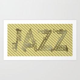 JAZZ GOLD MUSICAL INSTRUMENTS Art Print