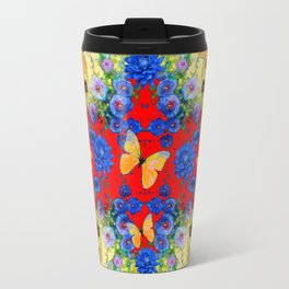 VERY BLUE  FLOWERS YELLOW BUTTERFLIES PATTERN ART Travel Mug