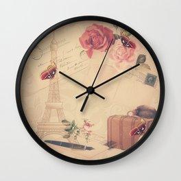 Vintage Parisian Collage Wall Clock