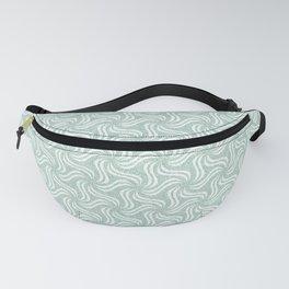 Faux Velvet Pinwheel Pattern in Green on White Fanny Pack