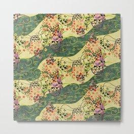 Vintage green and gold oriental floral pattern Metal Print