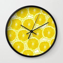 Summer Citrus Lemon Slices Wall Clock