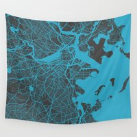 boston Wall Tapestries featuring Boston map by Map Map Maps