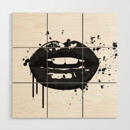 Black and white glamour fashion lips Wood Wall Art