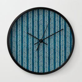 Mud cloth Teal Arrowheads Wall Clock