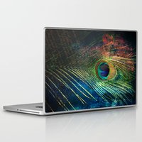 peacock feather Laptop & iPad Skins featuring peacock feather by mark ashkenazi