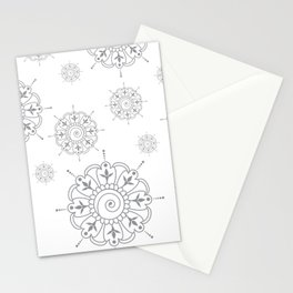Grey & White Mandala Stationery Cards