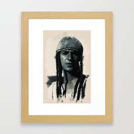 Young Faces from the past Series by Asar Studios, Kurdish boy with traditional plaited hair Framed Art Print