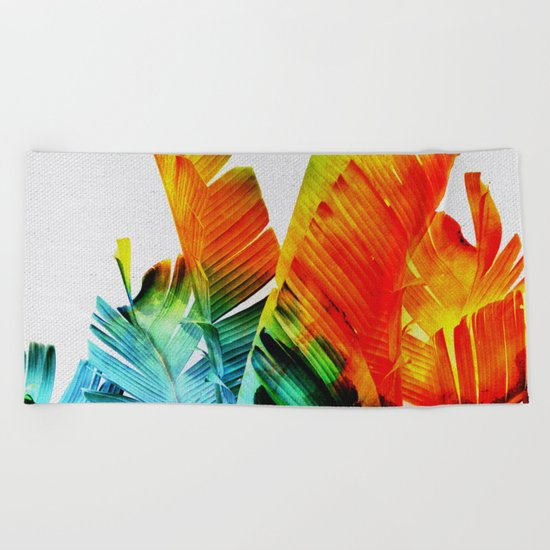 Enchanted Banana Leaves Beach Towel