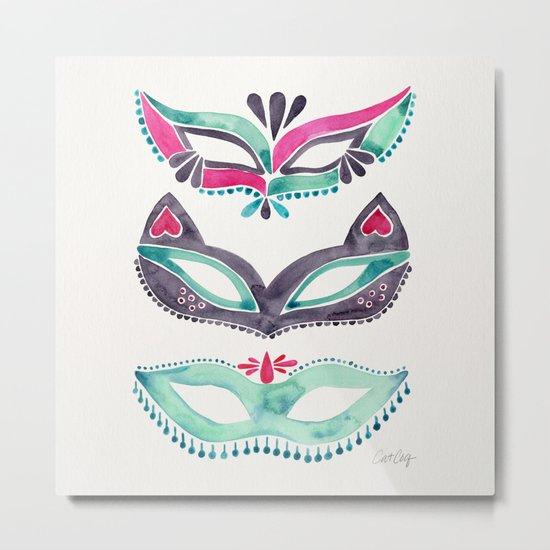 Masquerade Mask Trio – Pink & Mint Palette Metal Print