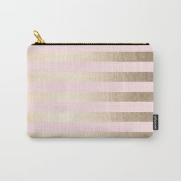 Stripes White Gold Sands on Pink Flamingo Carry-All Pouch