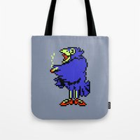 earthbound Tote Bags featuring Crow - Mother / Earthbound Zero by Studio Momo╰༼ ಠ益ಠ ༽
