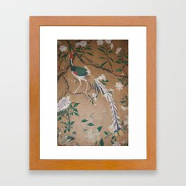 Antique French Chinoiserie in Tan & White Framed Art Print