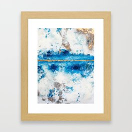 Blue Skies: a pretty, minimal abstract mixed-media piece in blue, white and gold Framed Art Print