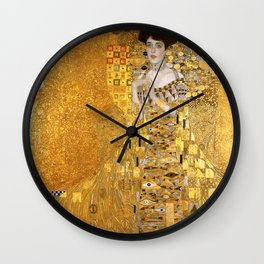 Gustav Klimt - Portrait d'Adele Bloch-Bauer I 1907 (new color rendition) Wall Clock