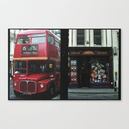 Red bus and a candy store - London Canvas Print