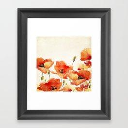 Poppy Flower Meadow- Floral Summer lllustration Framed Art Print