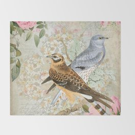 Vintage birds Throw Blanket
