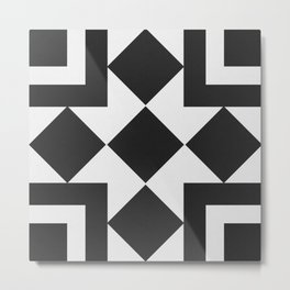 Black & White Tile Pattern Metal Print
