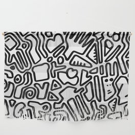 black & white doodle Wall Hanging