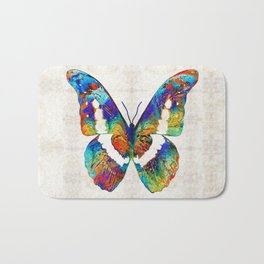 Colorful Butterfly Art by Sharon Cummings Bath Mat