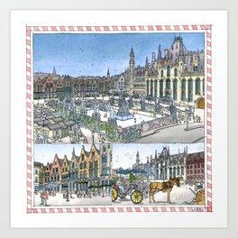Bruges Christmas Market Art Print