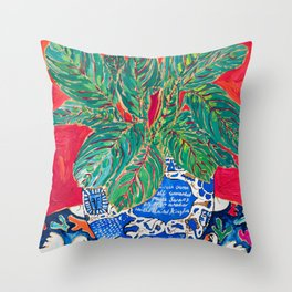 Prayer Plant in Blue-and-White Pot on Swan Table Cloth After Matisse Painting Throw Pillow