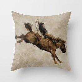 Western-style Bucking Bronco Cowboy Throw Pillow