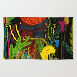 Couple in love in the jungle Rug