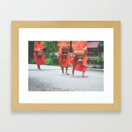 monks collecting alms Framed Art Print