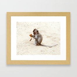 Happy Monkey with a Banana Framed Art Print