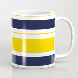 Yellow and Blue Horizontal Lines Stripes Coffee Mug
