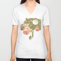 lanterns V-neck T-shirts featuring Lanterns Rosy by Heidi Fairwood